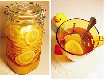 制作柠檬片和蜂蜜泡水的方法